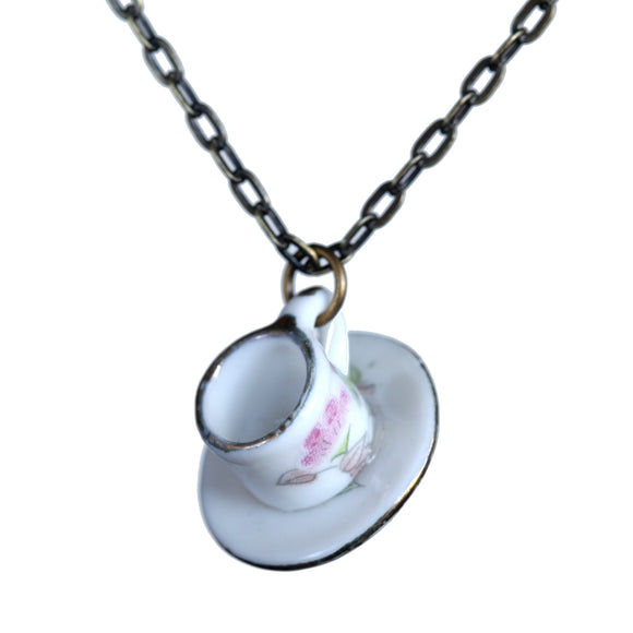 Dollhouse miniature cup-and-saucer necklace - Amy Jewelry