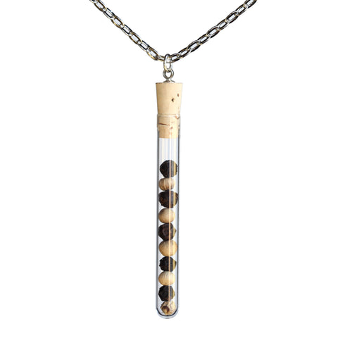 Peppercorn test tube pendant on steel chain