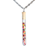 Cake sprinkles test tube pendant on steel chain - Amy Jewelry  - 1