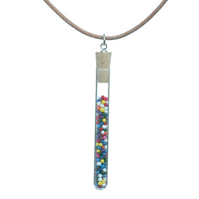 test tube pendant on leather cord with cake sprinkles