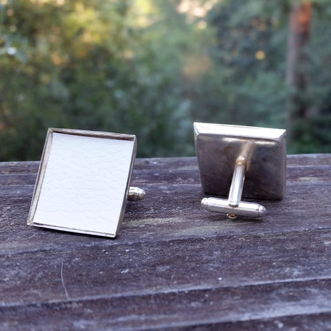 Silver-plated upholstery cuff links