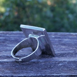 Photo of silver-plated upholstery ring, back view