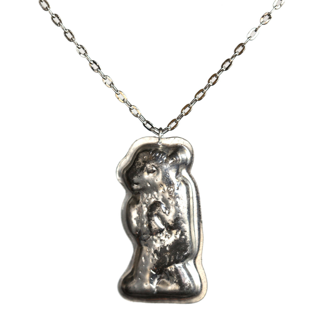 vintage butter mold bear necklace - Amy Jewelry