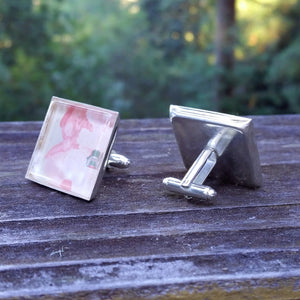Silver-plated vintage floral wallpaper cuff links - Amy Jewelry  - 1