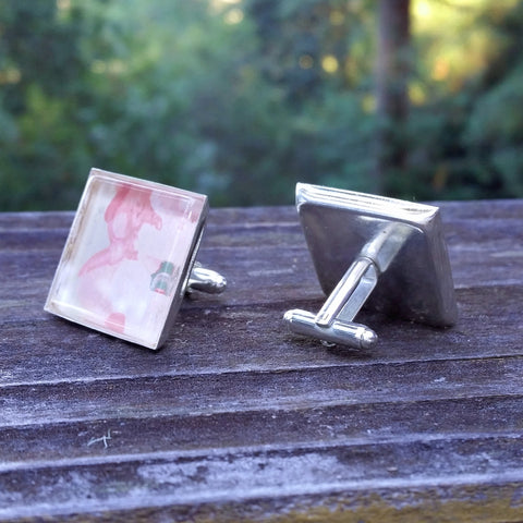 Silver-plated vintage floral wallpaper cuff links