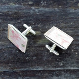 Silver-plated vintage floral wallpaper cuff links - Amy Jewelry  - 2