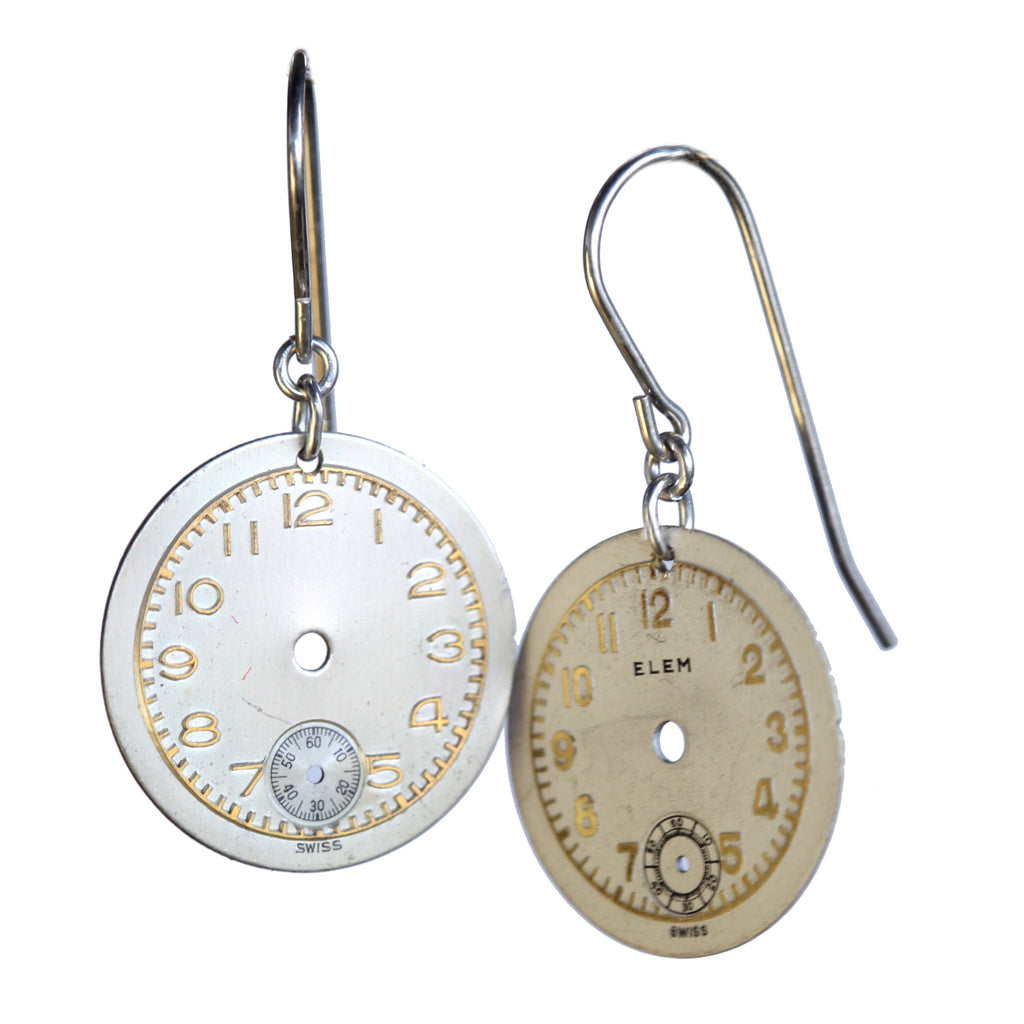 Vintage watch face earrings - Amy Jewelry