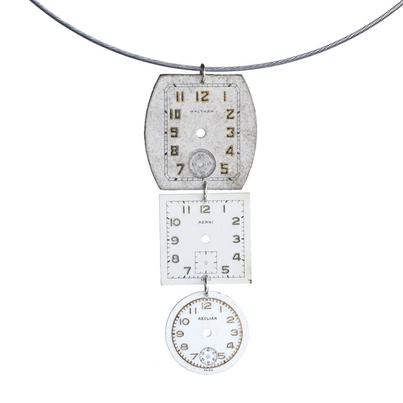 Triple vintage watch face pendant on steel cable - Amy Jewelry