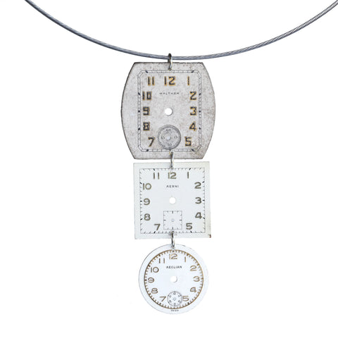 Triple vintage watch face pendant on steel cable