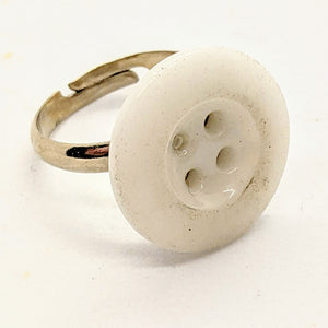 White glass button ring