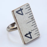Wooden ruler ring with steel shank - Amy Jewelry  - 1