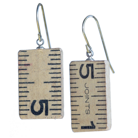 Salvaged wooden ruler earrings - Amy Jewelry
