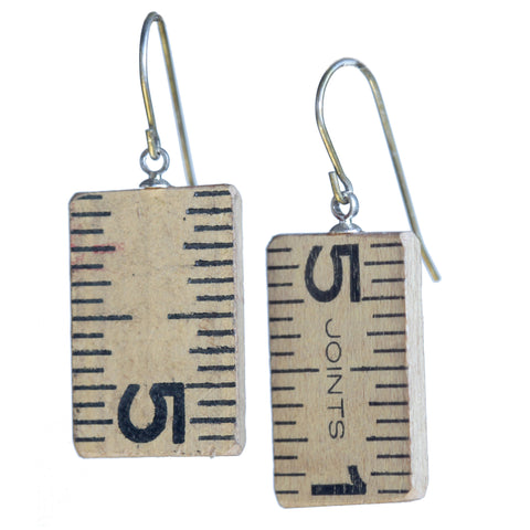 Salvaged wooden ruler earrings