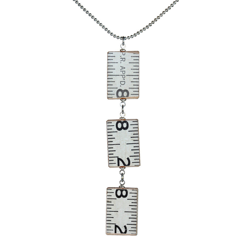 Wooden ruler 3-link vertical pendant necklace - Amy Jewelry