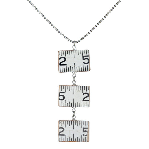Wooden ruler 3-link horizontal pendant necklace