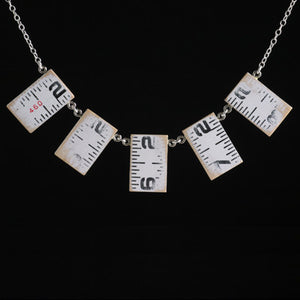 Wooden ruler five-link vertical necklace - Amy Jewelry