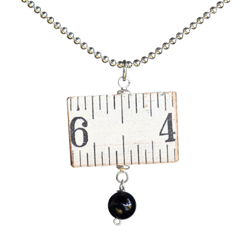 Wooden ruler single-link necklace with onyx bead
