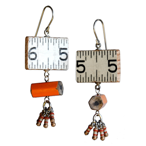 Wooden ruler/pencil/resistor earrings - Amy Jewelry