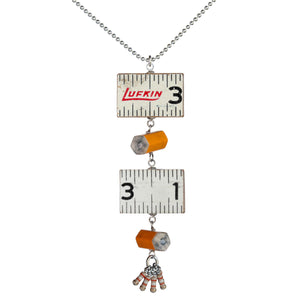 Wooden ruler/pencil/resistor pendant - Amy Jewelry