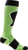Men's Darn Tough OTC Padded Ultra Light Ski Sock-Black/Green-US Size XL