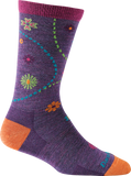 Darn Tough Vermont Women's Spring Garden Crew Light Cushion Hiking Socks, Plum, Small