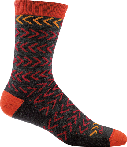 Darn Tough Chevrons Crew Socks - Men's Charcoal X-Large