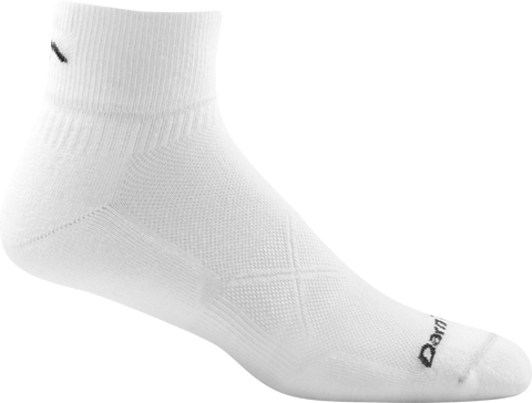 Darn Tough Vermont Men's Coolmax Vertex 1/4 Sock Ultra-Light Cushion, White, X-Large