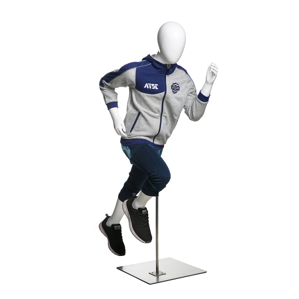Running Male Youth Mannequin: Glossy White 4'1""