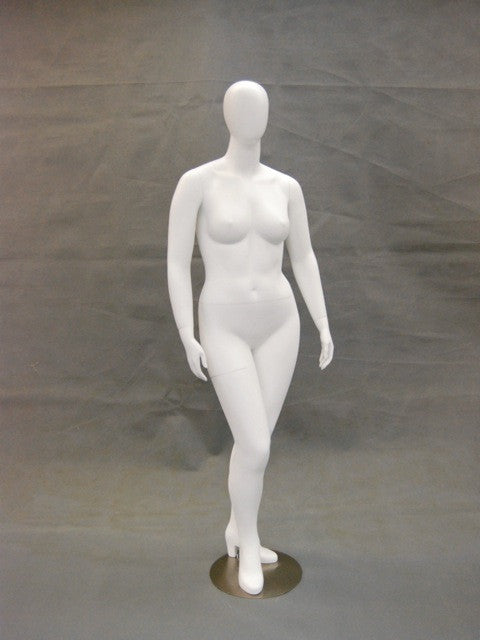 Nancy 1: Plus Size Female Egghead Mannequin Matte White