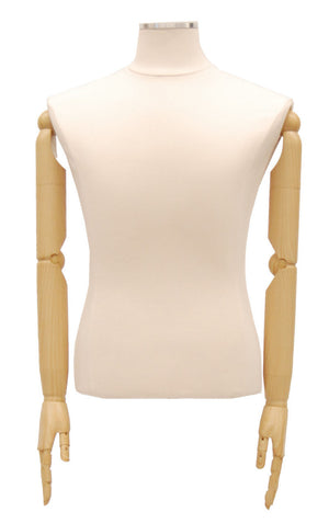 Male Dress Form with Bendable Arms: White Jersey, Natural Wood Tripod Base
