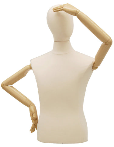 Articulated Male Dress Form: White Jersey w/ Natural Wood Tripod Base