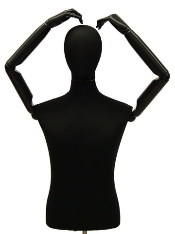 Black Jersey w/ Caster Base: Articulated Male Dress Form