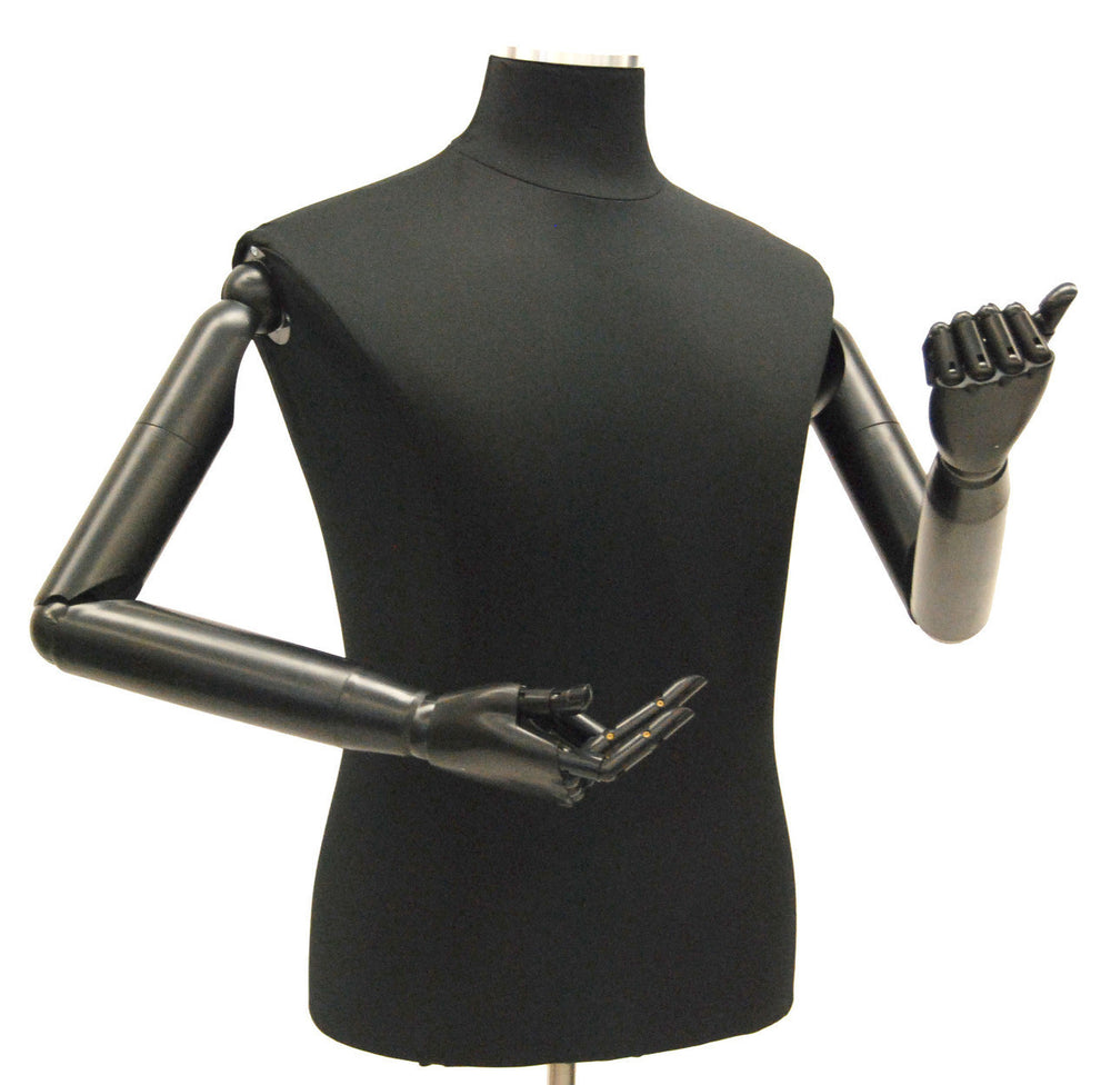 Male Dress Form with Bendable Arms: Black Jersey, Wheeled Base