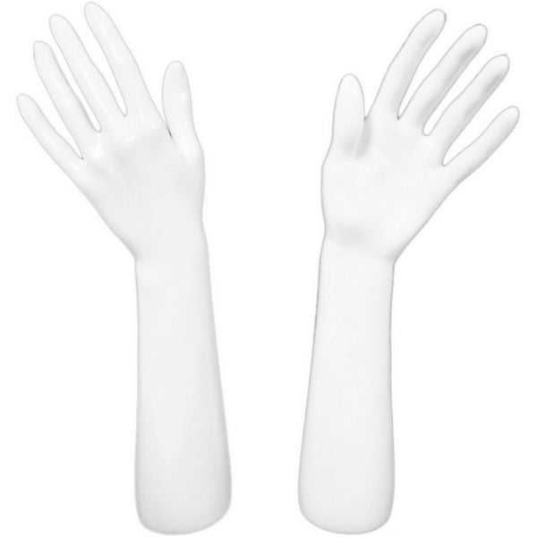 Glossy White Glove and Jewelry Display Hand