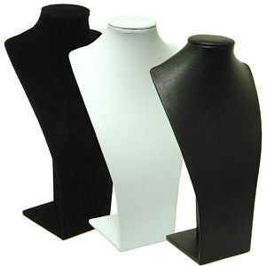 Long Bust Display: Black or White Leatherette, Single