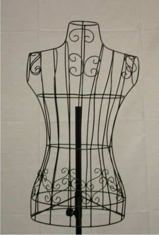 Female Wire Dress Form Mannequin #3 -- Black