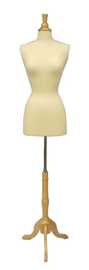 Female French Dress Form: White Jersey on Natural Wood Tripod Base: