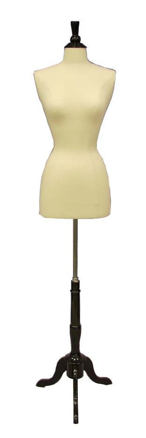 Female French Dress Form: White Jersey on Black Wood Tripod Base