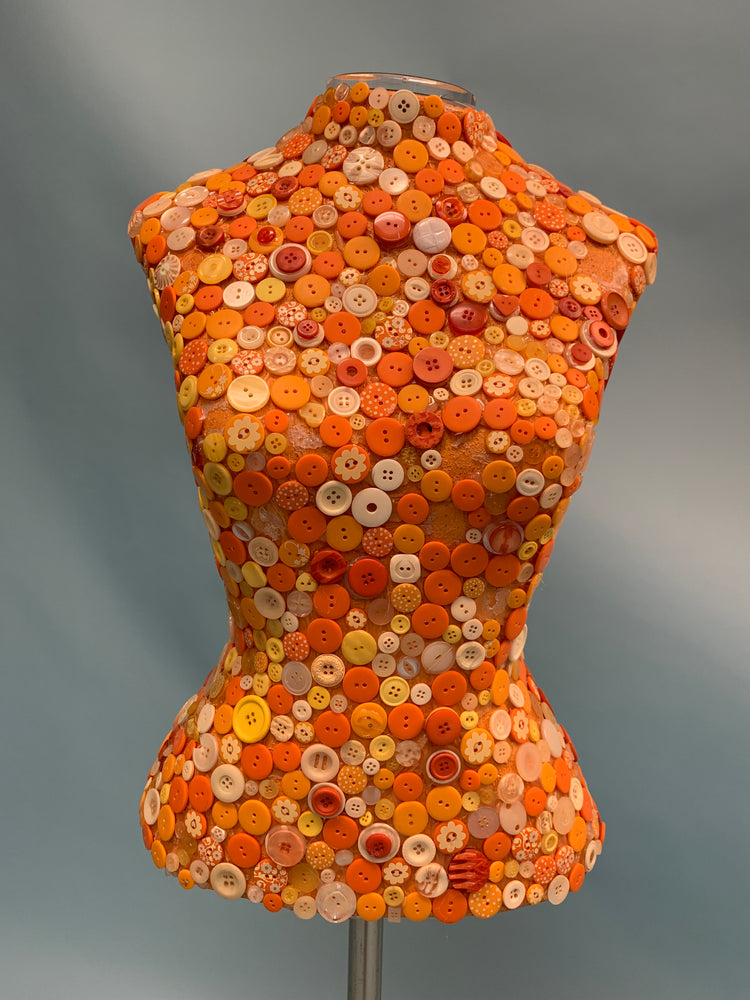 Mosaic Button Female Dress Form on Stand