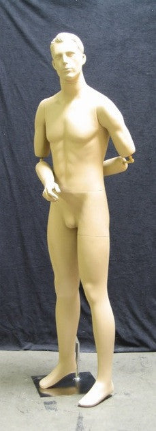 Realistic Male Mannequin w/ Bendable Arms & Interchangeable Heads