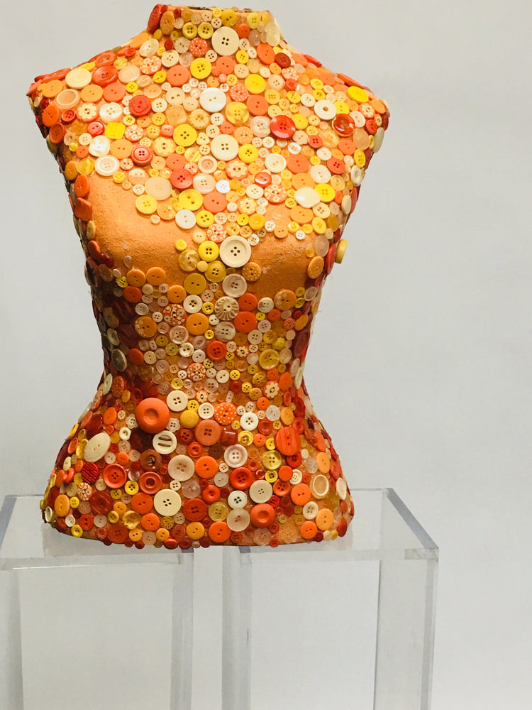 Used Mosaic Button Female Dress Form -- Orange