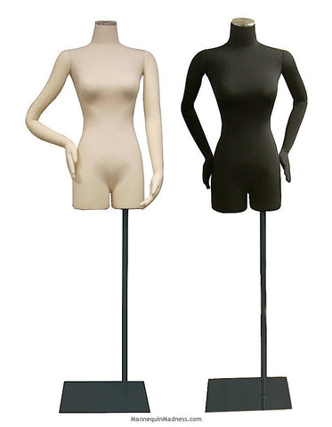 3/4 Female Body Form with Bendable Cloth Arms: Black Jersey