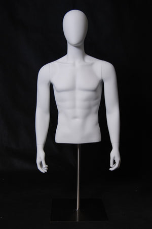 Egghead Male 1/2 Form Torso with Arms: Matte White