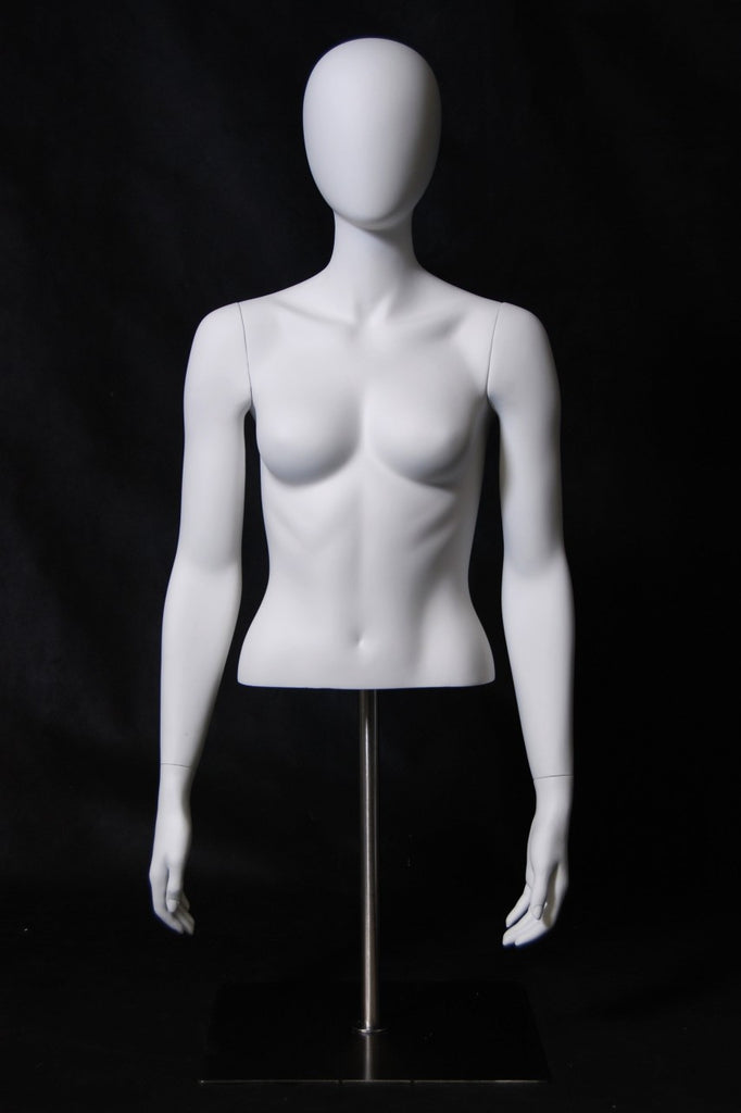 Egghead Female 1/2 Torso with Arms: Matte White