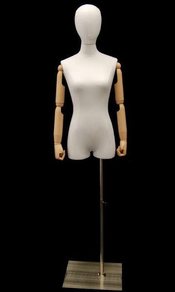 Female Half-Leg Dress Form with Bendable Arms: White Linen