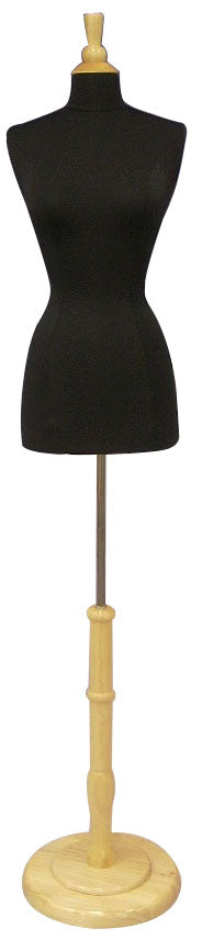 Female French Dress Form: Black Jersey on Round Natural Wood Base