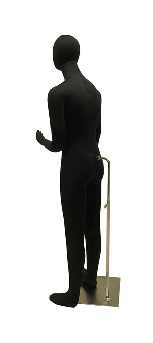 Black Cloth Egghead Male Mannequin: Bendable with Removable Head