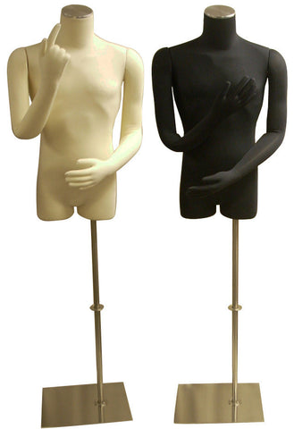 3/4 Male Body Form with Bendable Cloth Arms: Black Jersey