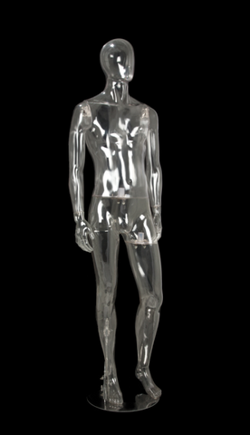 Clear Egghead Male Mannequin: Arms at Sides