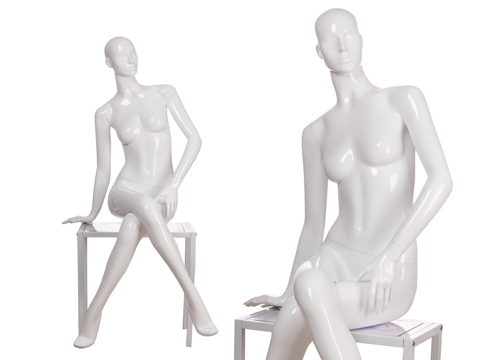 Gabriella 7: Seated Mannequin: Glossy White